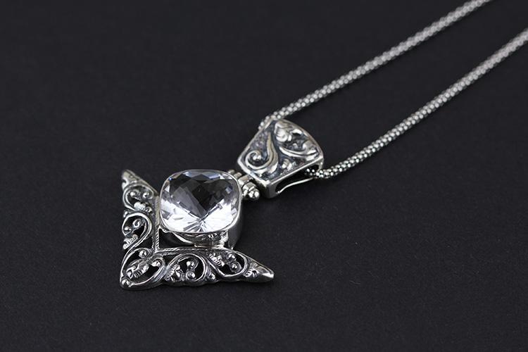 925纯银饰品批发 印尼巴厘岛手工银饰 白水晶 个性 女款