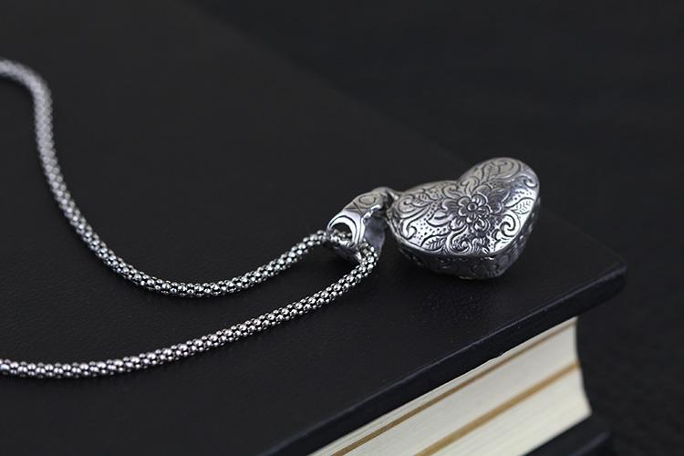 925纯银饰品批发 印尼巴厘岛手工银饰 纯银吊坠 心形 项饰 女款