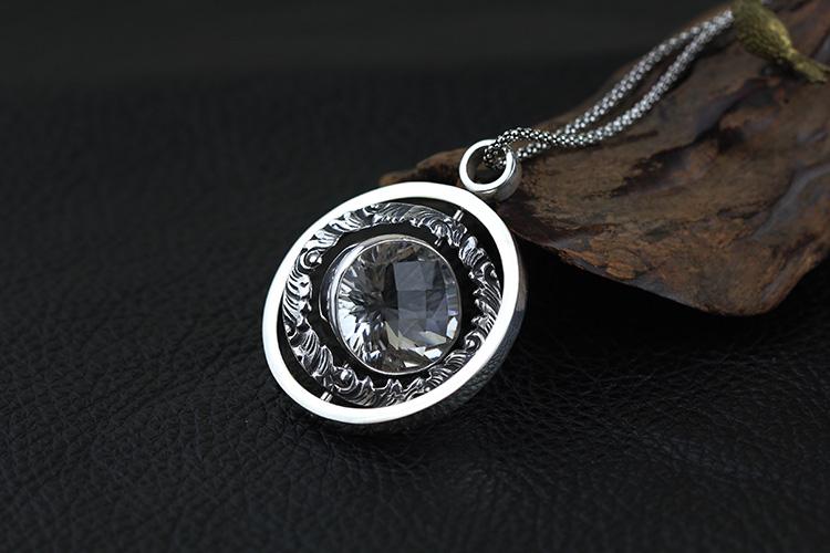 925纯银饰品批发 白水晶 印尼巴厘岛手工银饰 可旋转 项饰 吊坠